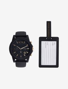 ARMANI EXCHANGE BLACK WATCH AND LUGGAGE TAG GIFT SET Uhr Herren f