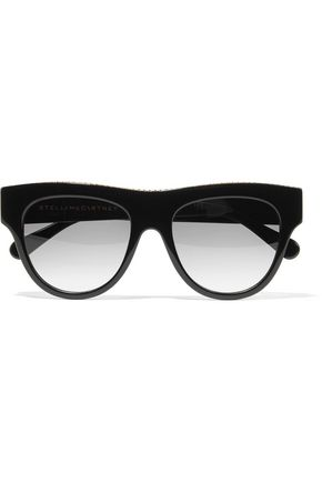 WOMAN D-FRAME CHAIN-TRIMMED TORTOISESHELL ACETATE SUNGLASSES BLACK