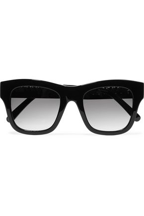 WOMAN SQUARE-FRAME CHAIN-TRIMMED ACETATE SUNGLASSES BLACK
