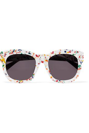 WOMAN SQUARE-FRAME PRINTED ACETATE SUNGLASSES MULTICOLOR