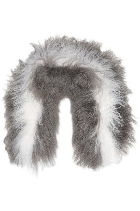 CHARLOTTE.SIMONE Candy striped faux fur scarf