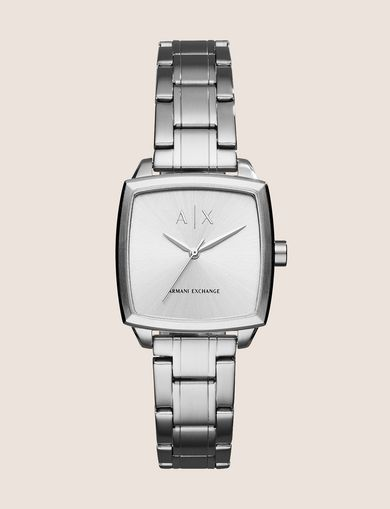 SQUARE SILVER-TONE BRACELET WATCH