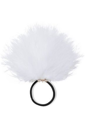 ROSANTICA Bianca feather and pearl hair tie