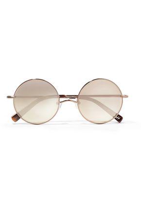 ELIZABETH AND JAMES Mott round-eye bronze-tone mirrored sunglasses