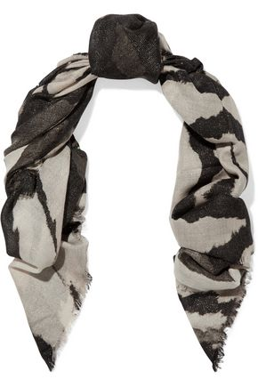 ROBERTO CAVALLI Printed cashmere and silk-blend scarf