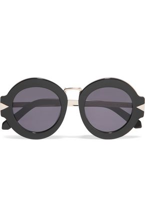 KAREN WALKER Maze round-frame acetate and gold-tone sunglasses
