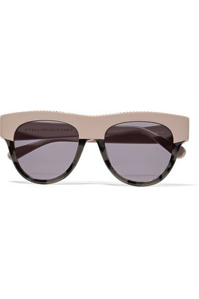 STELLA McCARTNEY D-frame chain-trimmed two-tone acetate sunglasses