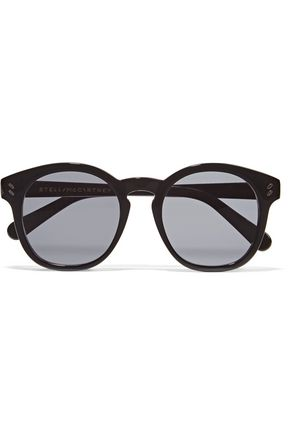 WOMAN ROUND-FRAME ACETATE SUNGLASSES BLACK