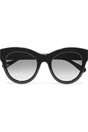 WOMAN CAT-EYE CHAIN-TRIMMED ACETATE SUNGLASSES BLACK