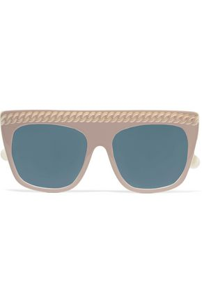 532fd7a648e1 STELLA McCARTNEY D-frame embossed acetate mirrored sunglasses