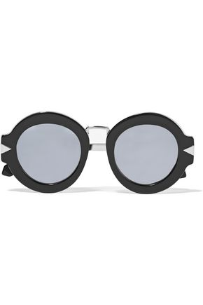 KAREN WALKER Maze round-frame acetate and silver-tone sunglasses