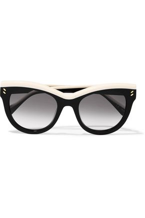 STELLA McCARTNEY Cat-eye two-tone acetate mirrored sunglasses