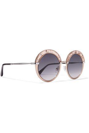 JIMMY CHOO Gotha/S round-frame glittered acetate and gold-tone sunglasses