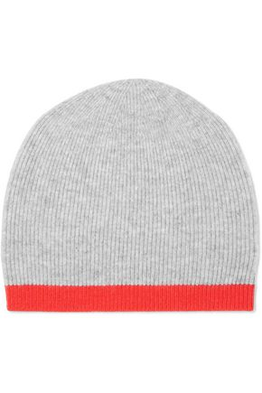 DUFFY Two-tone ribbed wool and cashmere-blend beanie