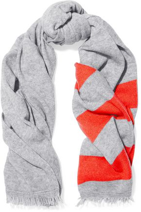DUFFY Striped wool and cashmere-blend scarf