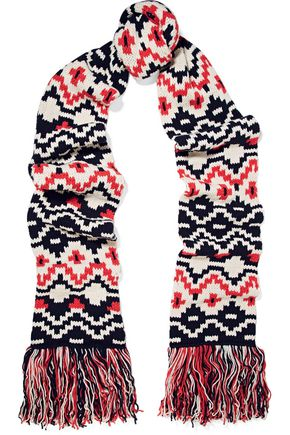 MAJE Fringed intarsia wool-blend scarf