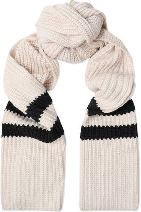 BRUNELLO CUCINELLI Two-tone cable-knit cashmere scarf