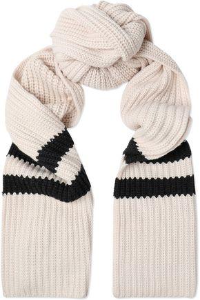 BRUNELLO CUCINELLI Two-tone cable-knit cashmere scarf