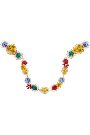 DOLCE & GABBANA Gold-tone, Swarovski crystal and enamel headband
