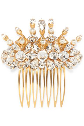 DOLCE & GABBANA Gold-tone, Swarovski crystal and faux pearl hair slide