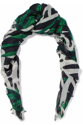 PROENZA SCHOULER Fringed printed cashmere and silk-blend scarf