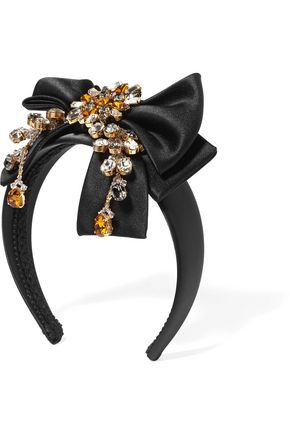 DOLCE & GABBANA Crystal-embellished silk-satin headband