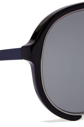 SACAI + Linda Farrow aviator-style acetate and metal sunglasses
