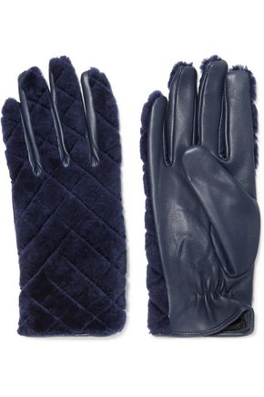 SANDRO Leather and shearling gloves