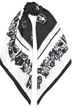 KENZO Printed silk-twill scarf
