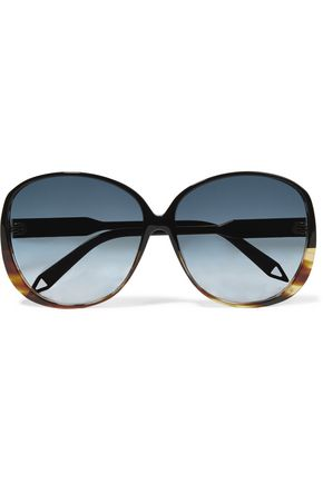 Round Frame Tortoiseshell Acetate And Gold Tone Sunglasses by Victoria Beckham
