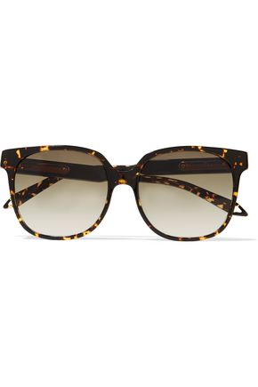 Woman Refined Classic Square-Frame Tortoiseshell Acetate Sunglasses Dark Brown