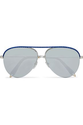 VICTORIA BECKHAM Classic Victoria aviator-style leather-trimmed metal and acetate sunglasses