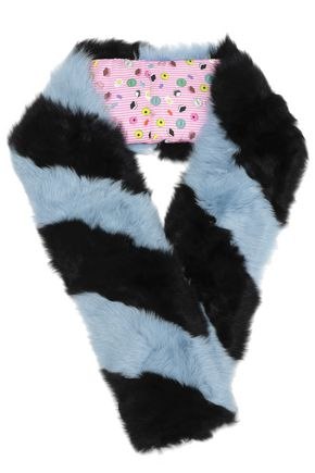 CHARLOTTE SIMONE Striped wool faux fur scarf
