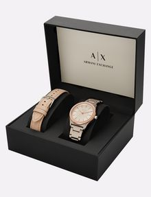 ARMANI EXCHANGE ROSE GOLD BRACELET WATCH GIFT SET Uhr Damen e