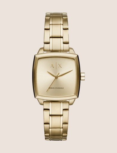 SQUARE GOLD-TONED BRACELET WATCH