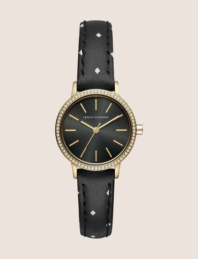 RHINESTONE-STUDDED PRINT WATCH