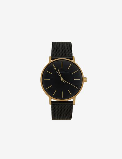 GOLD-TONED BLACK MESH BAND WATCH