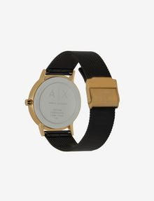 ARMANI EXCHANGE GOLD-TONED BLACK MESH BAND WATCH Fashion Watch [*** pickupInStoreShipping_info ***] d