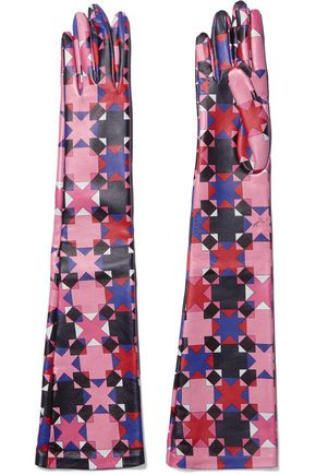 EMILIO PUCCI Printed leather gloves