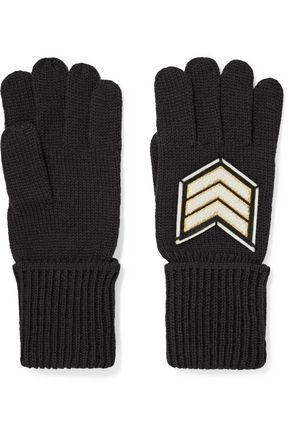 Y-3 + adidas Originals Pilot felt-appliquéd mohair gloves