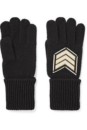 Y-3 + adidas Originals Pilot felt-appliquéd mohair gloves