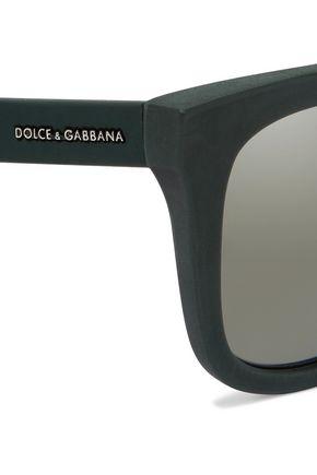 DOLCE & GABBANA D-frame rubber mirrored sunglasses