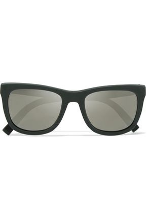 DOLCE & GABBANA D-frame rubber mirrored sunglasses