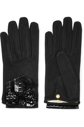 CAUSSE GANTIER Patent leather-paneled suede gloves