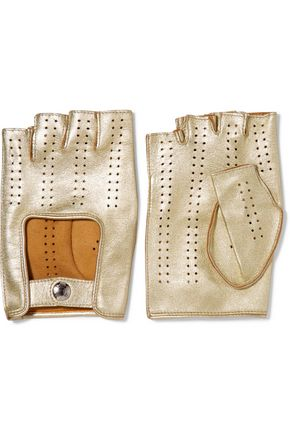 CAUSSE GANTIER Metallic perforated leather fingerless gloves