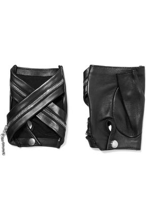 CAUSSE GANTIER Zip-detailed leather fingerless gloves