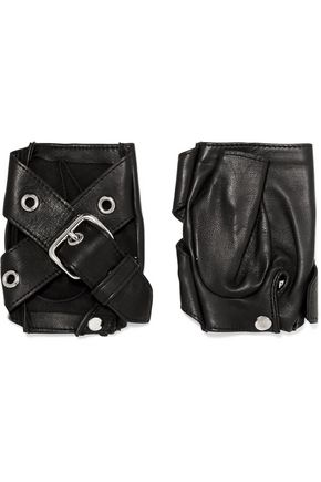 CAUSSE GANTIER Buckled leather fingerless gloves