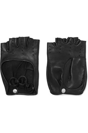 CAUSSE GANTIER Perforated leather fingerless gloves