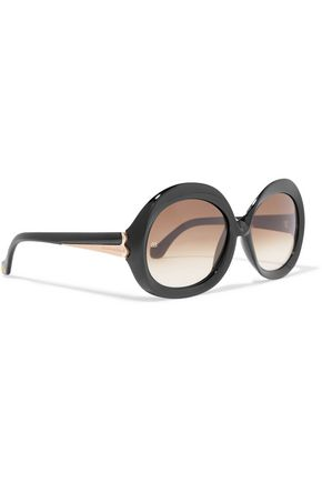 BALENCIAGA Round-frame acetate and gold-tone sunglasses