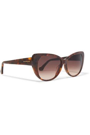 BALENCIAGA Cat-eye tortoiseshell-print acetate sunglasses